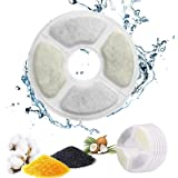 PewinGo Filtre Fontaine eau Chat, Filtre de Fontaine Triple Action [6 PCS] pour Remplacement de la Fontaine de Chat avec Rési