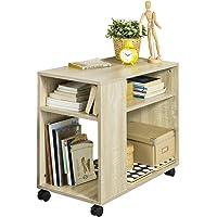 SoBuy FBT34-N bout de canapé table café roulante avec 2 étagères de rangement, 2 niveaux bibliothèque à roulettes