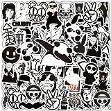 Jackify Stickers Pack [55 stks], Zwart Wit Vinyl Graffiti Sticker voor Kinderen Tieners Volwassenen, Waterdichte Esthetische