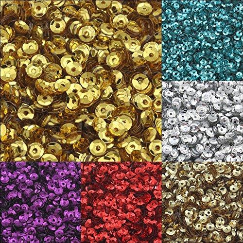 24000 Stk. Pailletten Ø 3mm 10 Farben Set Schüssel gewölbt für DIY Kleidung und Schmuck, Handwerk Metallic Basteln Sequin Bombe (Metallic-perlen-halskette Blau)