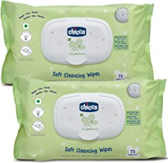 Chicco Baby Wipes 72 with Fliptop (Pack of 2)