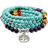 Roman Ventures 108 Preghiera Bracciale Bead Mala Bracciale | Collana Buddista Tibetana Mala Bead Prayer Necklace| 7 Chakra Pi