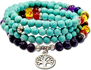 Roman Ventures 108 Preghiera Bracciale Bead Mala Bracciale | Collana Buddista Tibetana Mala Bead Prayer Necklace| 7 Chakra Pietra Chakra Meditazione Bracciale