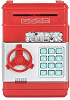 Piggy Bank Mini Atm Money Box Safety Electronic Password Chewing Coins Cash Deposit Machine for Children red