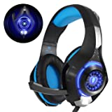 Beexcellent GM-1, Cuffie Gaming con microfono Cuffie da Gioco Bass Stereo per PS4 Auricolari Xbox One con LED Cancellazione del rumore Controllo Volume per PC MAC Laptop Tablet, Nero/Blu