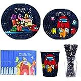 Vajilla Diseño de Among us Desechable,Decoraciones de Cumpleaños,Kit de Fiesta de Valor,Plato, Servilleta de Papel, Taza, Paj
