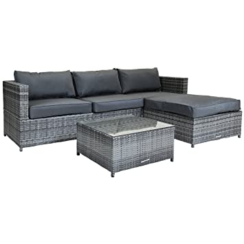 Charles Bentley L Shaped 3 Seater Rattan Outdoor Garden Conservatory Patio  Furniture Lounge Set With Footstool   Grey  Amazon co uk  Garden   Outdoors. Charles Bentley L Shaped 3 Seater Rattan Outdoor Garden