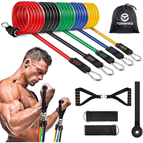 TOSHIHIKO Elastici Fitness Set di Fasce di Resistenza,5 Bande di Resistenza Bande Elastiche Fitness Kit in Lattice Up to 150LBS per Yoga,Allenamento Casa,Bodybuilding,Pilates,Fisioterapia