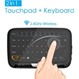 2.4 GHz Mini Wireless Mouse Keyboard mit Whole Panel Touchpad, Portable Handheld wiederaufladbare Tastatur für Android / Google Smart TV, Linux, Mac, HTPC, Raspberry Pi, XBOX 360, PS3, PS4