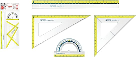 Herlitz Set pezzi/2X Geo della geometria del triangolo, Righello, Goniometro/colore: Lemon