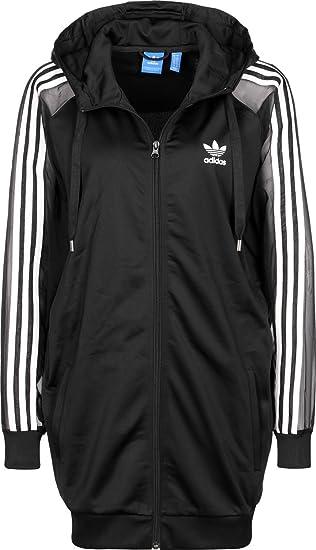 adidas Damen 3s Hooded Zip Sweatshirt, Schwarz: