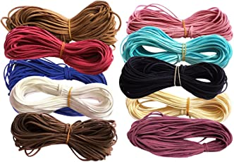 Segolike 10pcs Flat Faux Suede Korean Velvets Leather Cord String for Jewelry Making