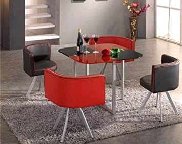 Modern Compact Space Saver Dining Table With Chairs Red Black