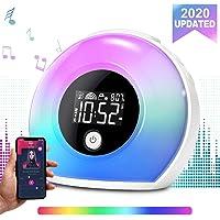 Réveil Lumineux, Ecomono Réveil avec Enceinte Bluetooth, Wake Up Light Réveil pour Enfant, Lampe de Nuit avec Ecran LCD Vibration Induction pour Maison/Chambre/Cadeau