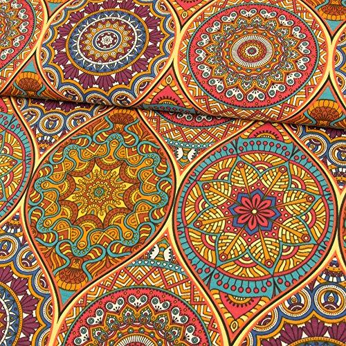 Stoffe Werning Dekostoff Mandalas bunt Canvasstoffe Dekorationen Ornamente - Preis Gilt für 0,5 Meter - Baumwoll-canvas Stoff