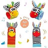 Baby Rattle Neonato 4 Pezzi Sonaglio da Polso per Neonati e Calze Piedi Simpatici Animaletti Developmental Toys sonagli Neona
