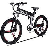 """Buyi-World Vélo électrique, Vélo Tout-Terrain Shimano VTT, Aluminium, Haute Vitesse 28 km/h, 26""""Pouces, 250W, Batterie 36V 8Ah, Fiche EU & UK, Noir"""