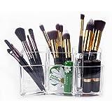 mDesign Kosmetik Organizer Nagellack und Beautyprodukte die ideale Schminkaufbewahrung Aufbewahrungsbox mit f/ünf F/ächern und zwei Schubladen f/ür Make-up transparent