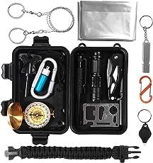 Survival Kit 15 in 1, Außen Notfall Selbsthilfe NotÜBerlebens Zubehör Camping Wandern Jagd Fahrzeug Werkzeuge Box Set mit Klappmesser, Feuerstarter, Kompass, Taschenlampe, Whistle, Tactical Pen, Wasserdichte Survival Kit Box