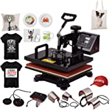 Decdeal New 12x15 Inch 8 in 1 Multifunctional Combo Digital Heat Press Thermal Transfer Machine with Mug Plate Hat Cap Press