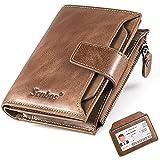 Senbos Portafoglio Uomo Blocco RFID Pelle Vera Portafoglio con 18 Porta Carte di Credito, 1 Tasca con Cerniera, 2 Scomparti B
