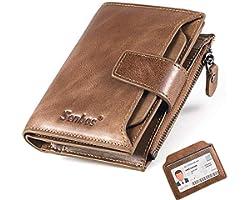 Senbos Portefeuille Homme en Cuir Véritable 18 Emplacements pour Cartes de Crédit Blocage RFID Portefeuille pour Homme Poche