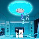 T-SUN Plafonnier LED Musique 36W 4000LM Plafonnier LED Couleur Plafonniers LED avec Haut-Parleur Bluetooth, Télécommande et C