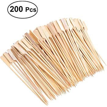 BESTONZON 18cm X 200 Cocktail cooking Paddle skewer bamboo Japanese style for Fruit BBQ Use