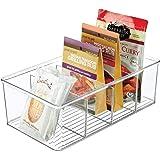 mDesign Matförvaringsbehållare — köksförvaringslåda uppdelad i 4 fack — köksorganisatör för kryddor, burkar, paket med mera —