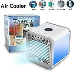 Arctic Air Mini Luftkühler Mobiles Klimageräte Air Cooler USB Ventilator Air Conditioner 3 in 1 Raumluftkühler, Luftbefeuchter und Luftreiniger,3 Stufen und 7 Farben LED Nachtlicht,Tragbarer Tischventilator für Büro,Hotel,Garage und Haus