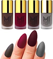 Mi Fashion Velvet Dull Matte Nail Polish, Coffee, Mauve, Wine, Grey, 39.6ml (4 Pieces)