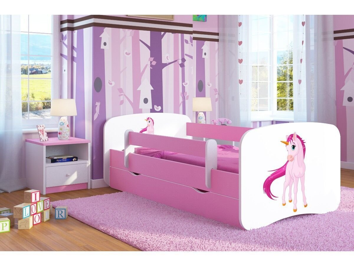 Pink Toddler Girl Bed Kids Bed Junior Children's Single Bed with Mattress and Storage Included - Baby Dreams (Medium (160x80), 3. Unicorn)  Wonderhome24