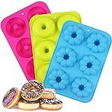 LinStyle Molde para Donut de Silicona, 3 Pieza Antiadherente Molde Donuts para Pasteles, Galletas,Bagels, Muffins-Naranja, 6