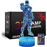 LED Superhero 3D Nachtlampje, ONXE Optische Illusie Lamp 16 Kleuren Dimbare USB Aangedreven Touch Control met Crack Base+Afst