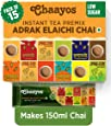Chaayos Instant Tea Premix - Low Sugar - Adrak Elaichi Flavour (15 Sachets) | Masala Tea Powder | Masala Chai | Premix Ready Mix Tea | Assam Tea | Desi Chai | Flavoured Tea | Tea Mix Instant Sachets