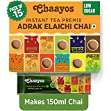 Chaayos Instant Tea Premix - Low Sugar - Adrak Elaichi Flavour (15 Sachets) | Masala Tea Powder | Masala Chai | Premix Ready