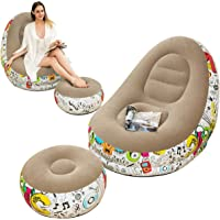 LONEEDY Inflatable Lazy Sofa, Family Lounge Chair with Inflatable Foot Cushion, Graffiti Pattern Flocking Outdoor Folding Sofa, Suitable for Home Rest or Office Rest (Grey)