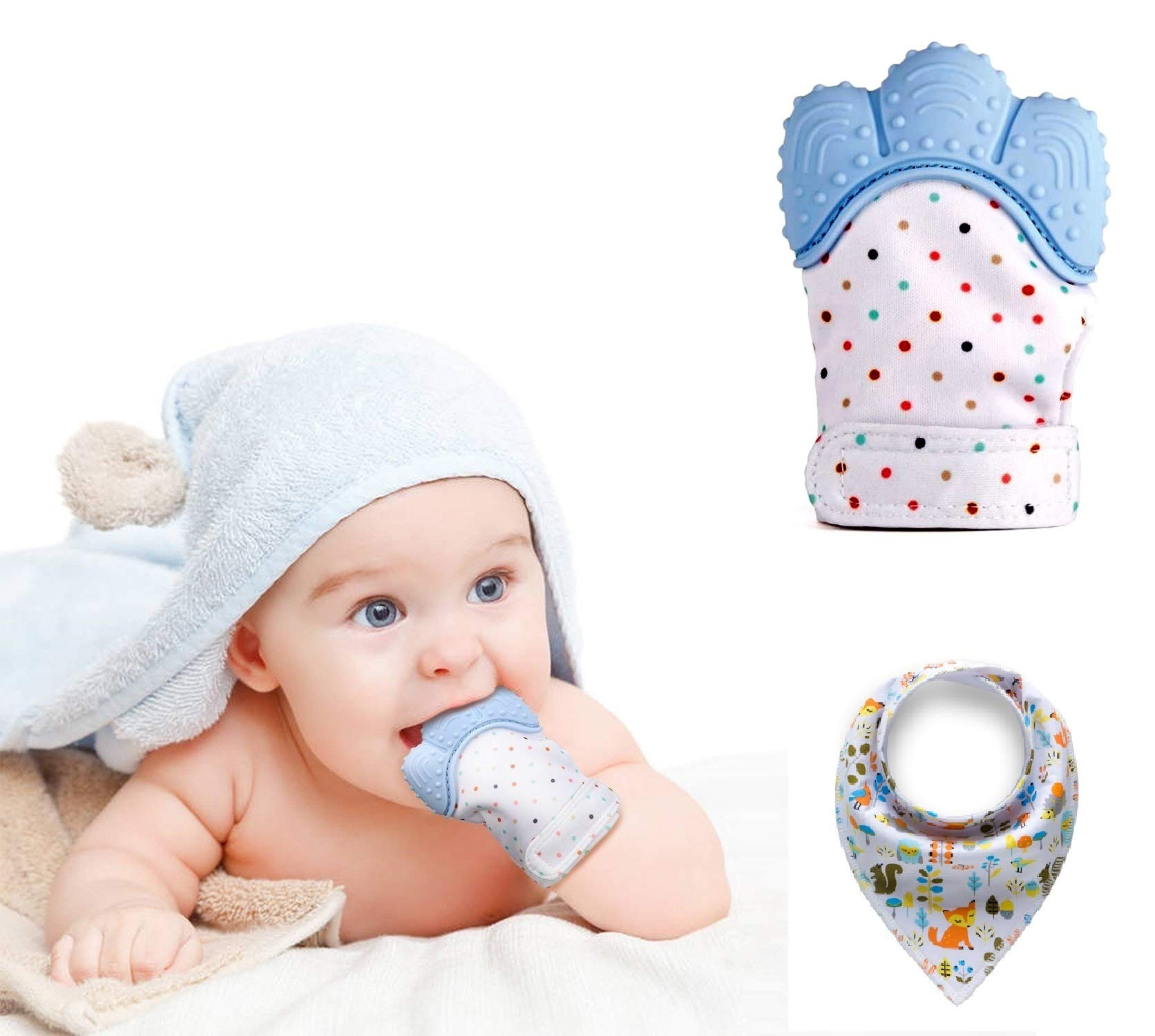 Funky Planet Teething Glove Silicone, Teething Glove Hygienic, Silicone Teether Mitten for Self-Soothing Pain Relief, Protects Babys Hands from Chewing + Free Bandana Baby BIB 1