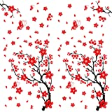 2pcs Pegatinas Pared Vinilos Adhesivos Stickers Decorativos Pared Flores Decoración DIY para Habitación Dormitorio Flores de