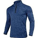 NAVISKIN Herren Laufshirt Warm Funktionsshirt 1//4 Zip Langarmshirt Langlaufshirt Winter Grau//Blau