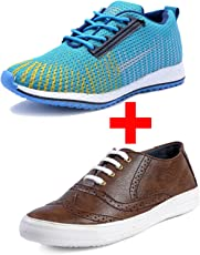 LeatherKraft Men's Combo Pack of 2 Stylish New Design Sports Shoes & Sneakers