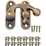 FUXXER® - 12x antieke sluitingen vergrendelingshaken, metalen haken, brons ijzer design, voor schuifkisten wijnkisten blikjes