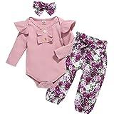 U·nikaka Infant Baby Girl Clothes Newborn Long Sleeve Ruffle Cotton Tops+Floral Pants 3PCS