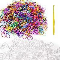 Hileyu Loom Lot de 600 bandes élastiques pour bracelets et 480 boucles en S Blanc