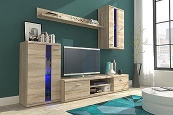 Wohnwand LIFE, Anbauwand, Wohnzimmer Möbel, Mit LED Beleuchtung