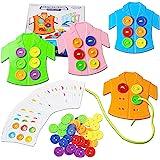 HVDHYY Jeux Montessori Enfant d'apprentissage Compétences Motrices Fines Laçage Jouets à Boutons de Vêtements Jeu de Voyage D