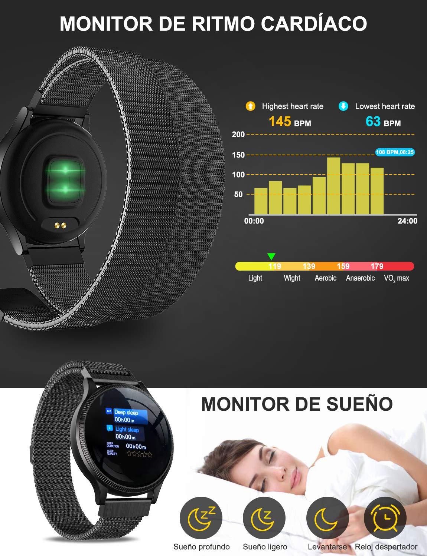 NAIXUES Smartwatch, Reloj Inteligente IP67 Pulsera Actividad Inteligente con Pulsómetro, Monitor de Sueño, Podómetro, Calorías Mujer Hombre para iOS y Android (Dorado) 4
