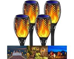 Fortand Lumières Flamme Solaire, 4 Pack Lumière Solaire de Torche Solaire Imperméable IP65 Lampe Torche de Jardin Lumières So