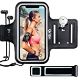 Gritin Running Armband for iPhone 12/12 Pro/SE 2020/11/11 Pro/XS/XR/X, Skin-Friendly Sweatproof Sports Running Armband with K