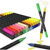 Juego de rotuladores,JPARR pinceles para acuarela, rotuladores de 24 colores con dos puntas, rotuladores de pino,rotuladores